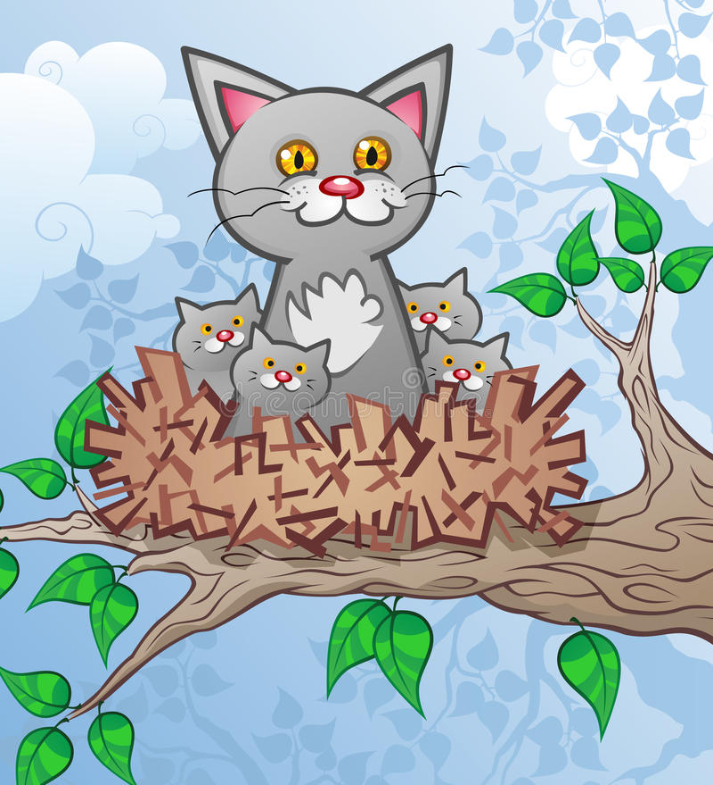 Download Cat & Kittens In A Bird's Nest Stock Vector - Image: 22322874