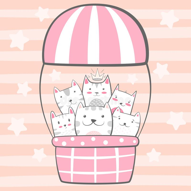 Cat, kitty characters. Air balloon illustration. Hand draw royalty free illustration
