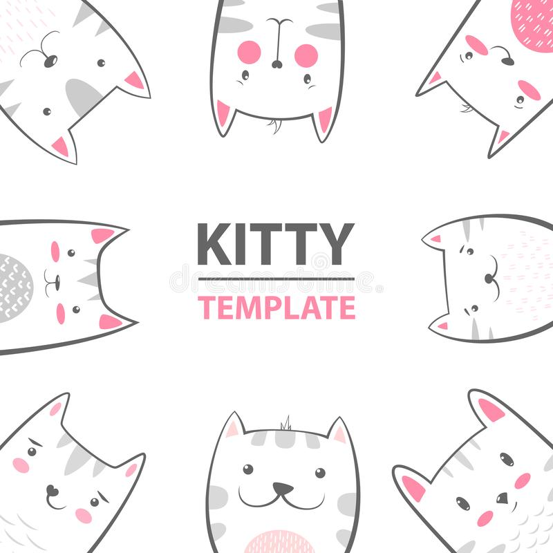 Cat, kitty characters - cartoon template. Hand draw royalty free illustration