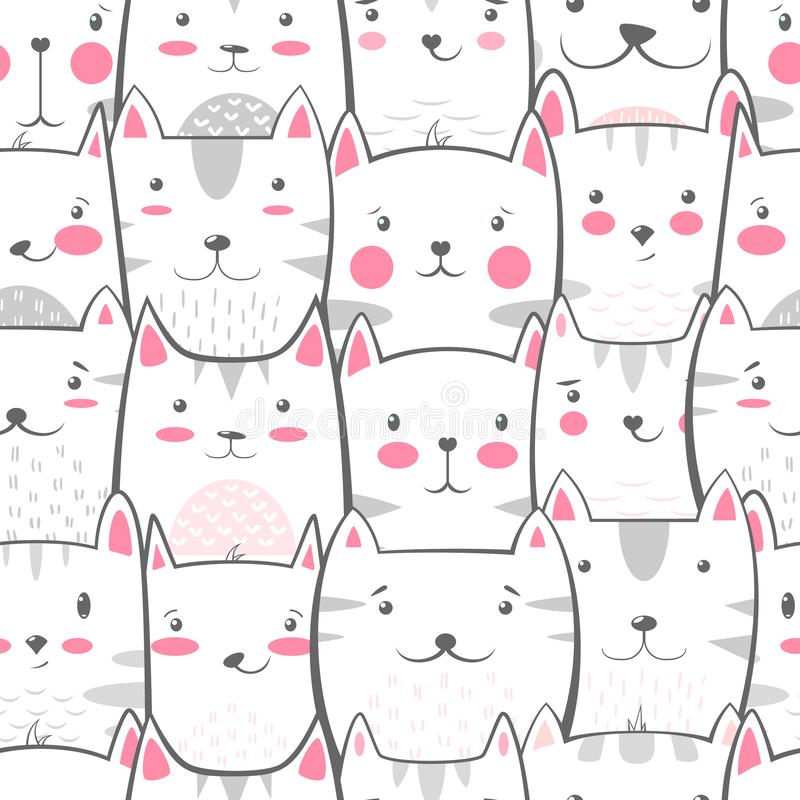 Cat, kitty - cute, funny pattern. Cat, kitty - cute, funny pattern Hand draw stock illustration