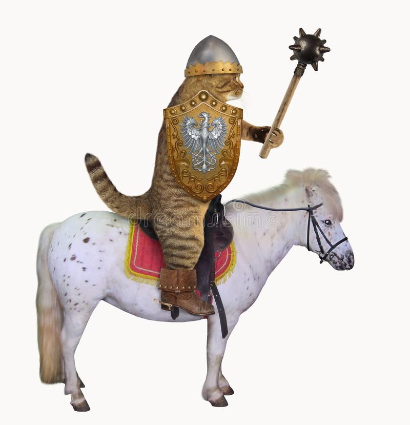 Cat knight on a horse with a mace 2. The cat knight in a boots with spurs anda helmet holds a spiked mace and a shield on a war horse. White background royalty free illustration