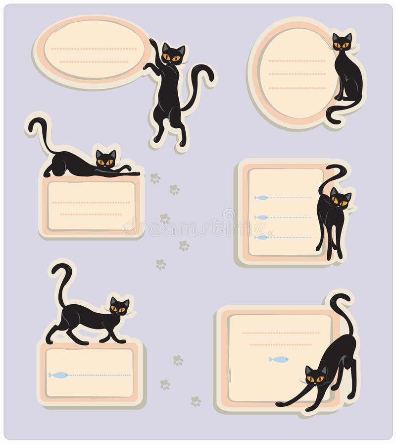6 Cat Labels illustration de vecteur