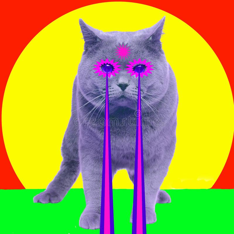 Cat with lasers from eyes. Minimal collage fashion concept stock illustration