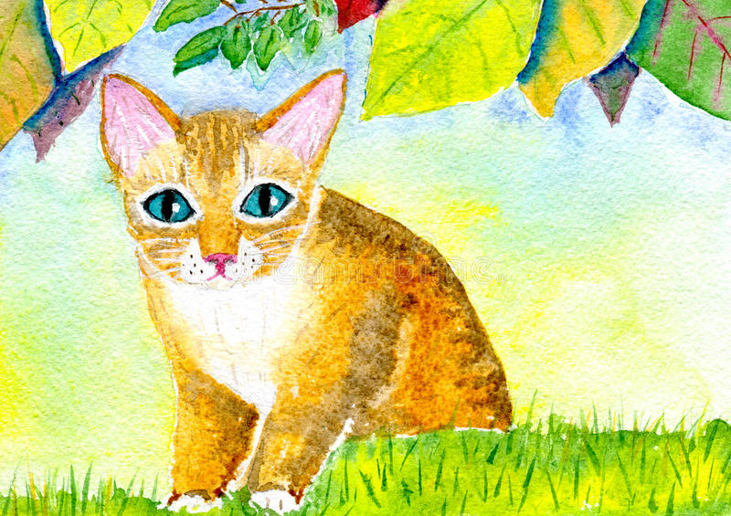 Cat on the lawn. Hand-painted watercolor illustration red cat on the lawn under the autumn leaves and paper texture vector illustration