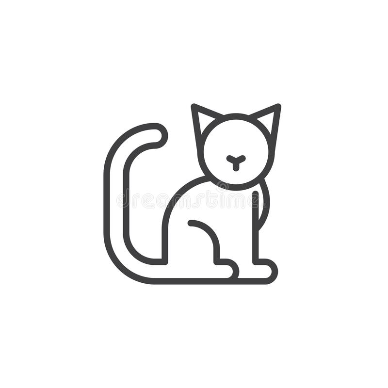 Cat line icon. Outline vector sign, linear style pictogram isolated on white. Symbol, logo illustration. Editable stroke vector illustration