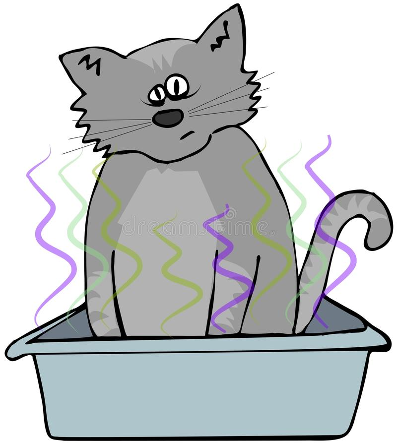 Cat in a litter box stock illustration