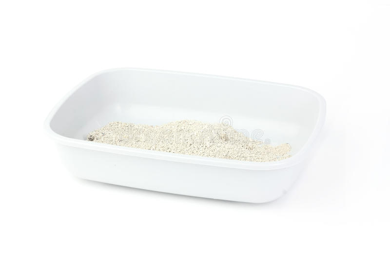 Cat litter box isolated on white background stock photos