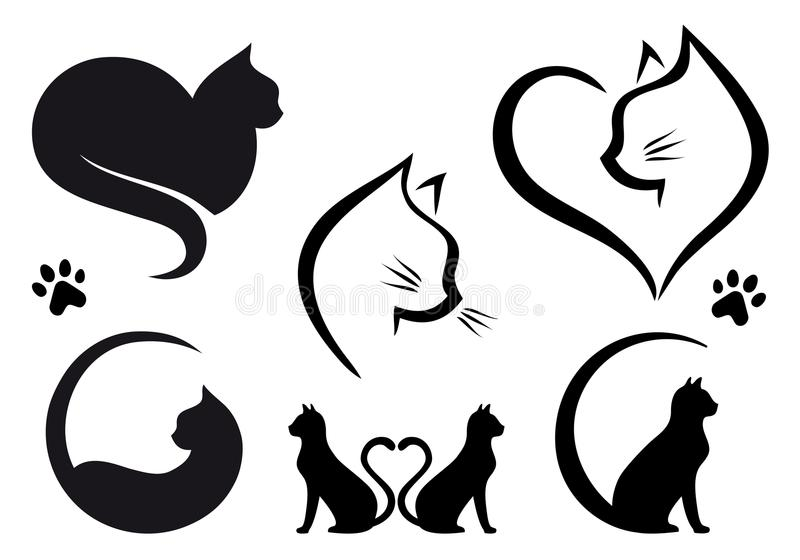 Cat logo design, vector set. Cat logo designs with heart, set of vector graphic design elements vector illustration
