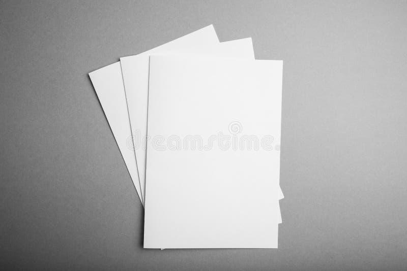 Cat?logo vazio, compartimento, molde do livro com sombras macias Modelo vazio fotografia de stock