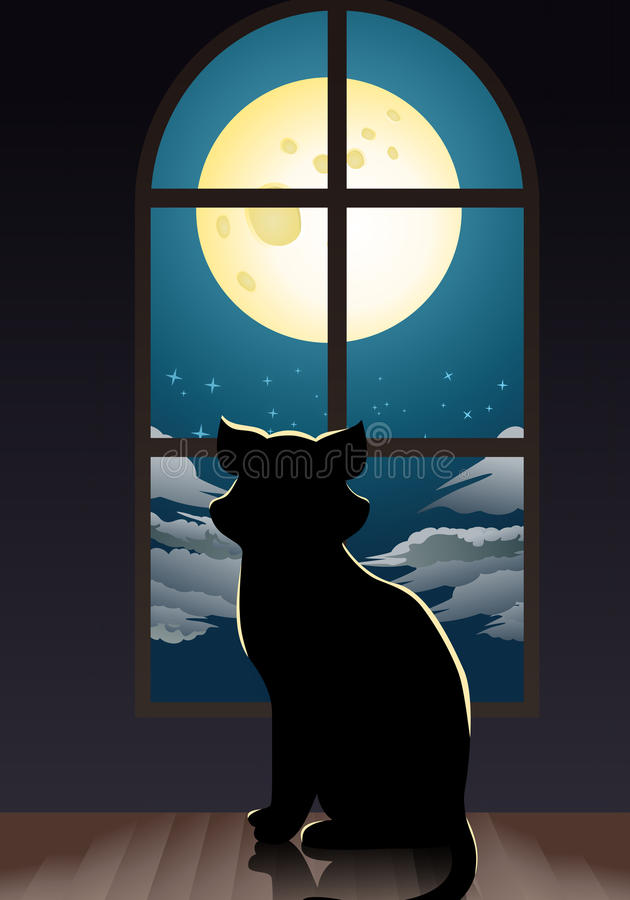 Cat lonely at home. Illustration of a cat lonely at home staring at the moon in room background