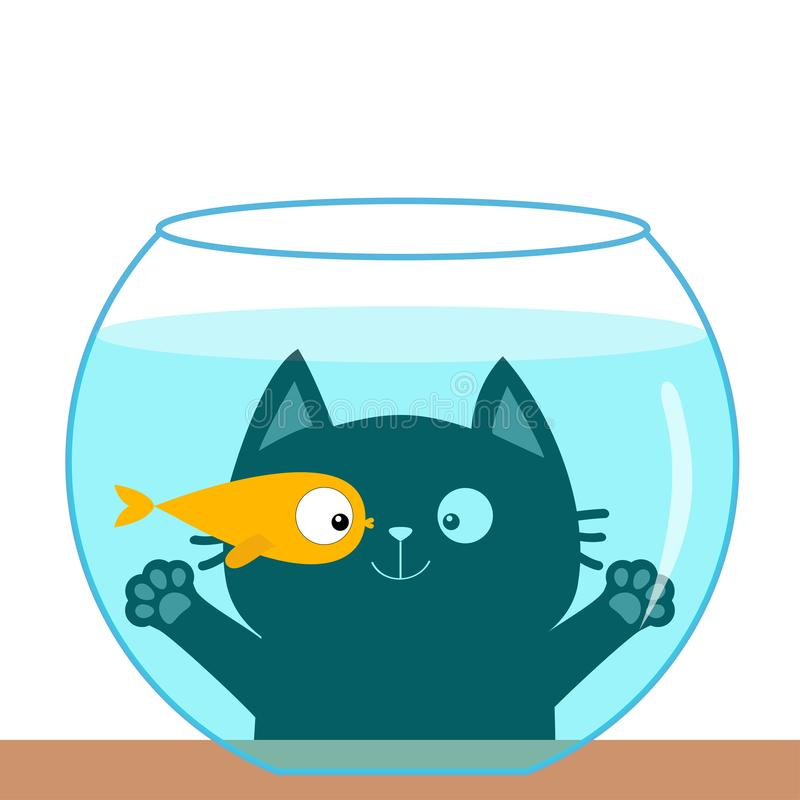 Cat looking through aquarium glass. Playing with gold fish. Big eyes. Swimming goldfish. Paw print hand. Cute cartoon kawaii funny royalty free illustration