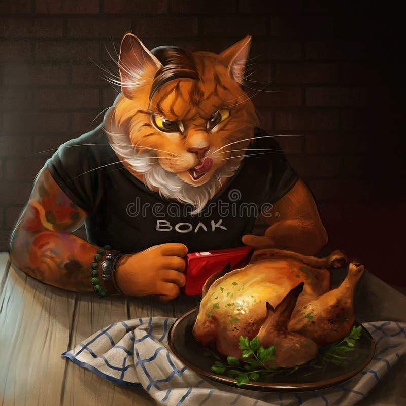Cat looking at fried chicken vector illustration