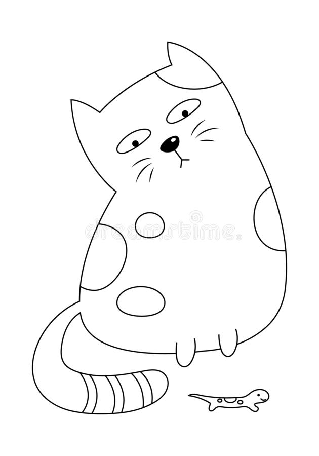 A Cat Looking at the House Lizard Colorless. A cat looking at the house lizard vector illustration cartoon. Cute kitty cat and house lizard colorless for royalty free illustration
