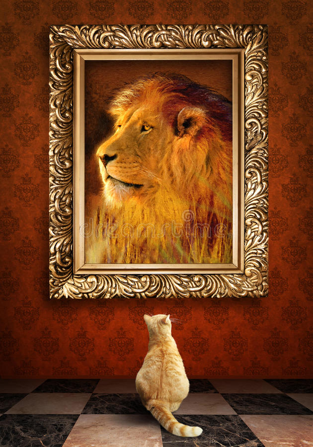 Cat looking at a portrait of a lion in a golden frame. royalty free stock photo