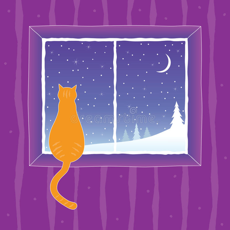 Cat looking into the window stock illustration