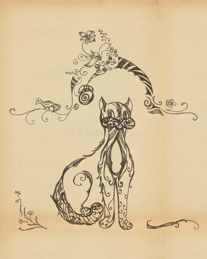 Download Cat Looks Askance At The Bird Stock Illustration - Illustration of design, grace: 19278850