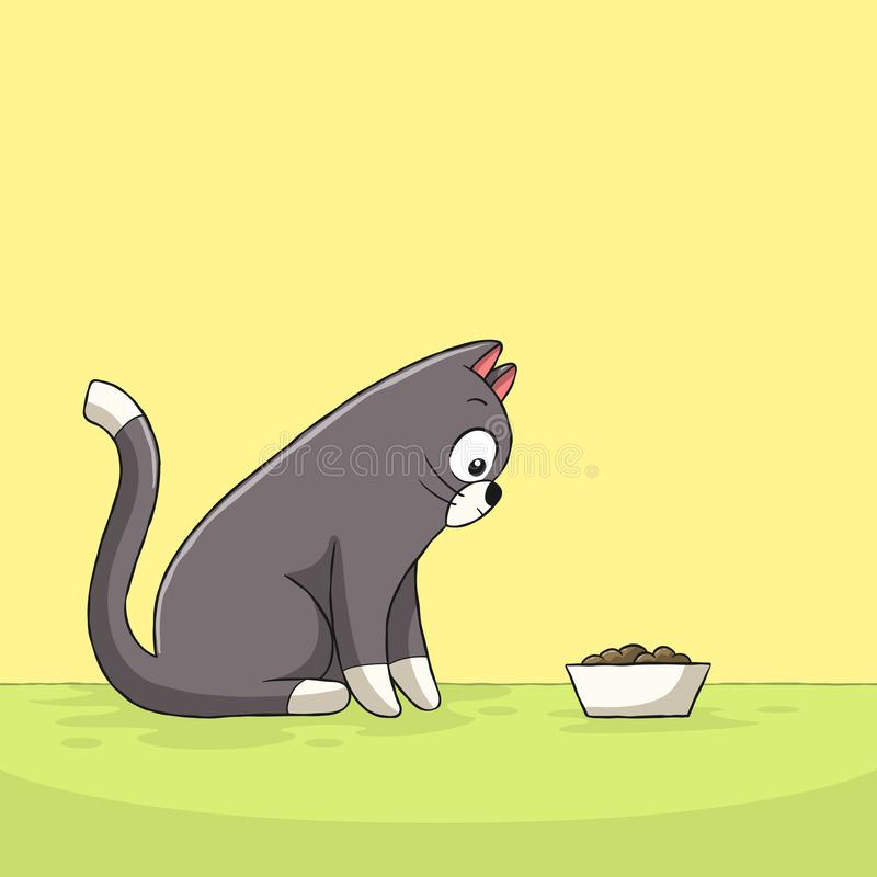 Cat Looks After Food. Hand drawn vector illustration with separate layers royalty free illustration