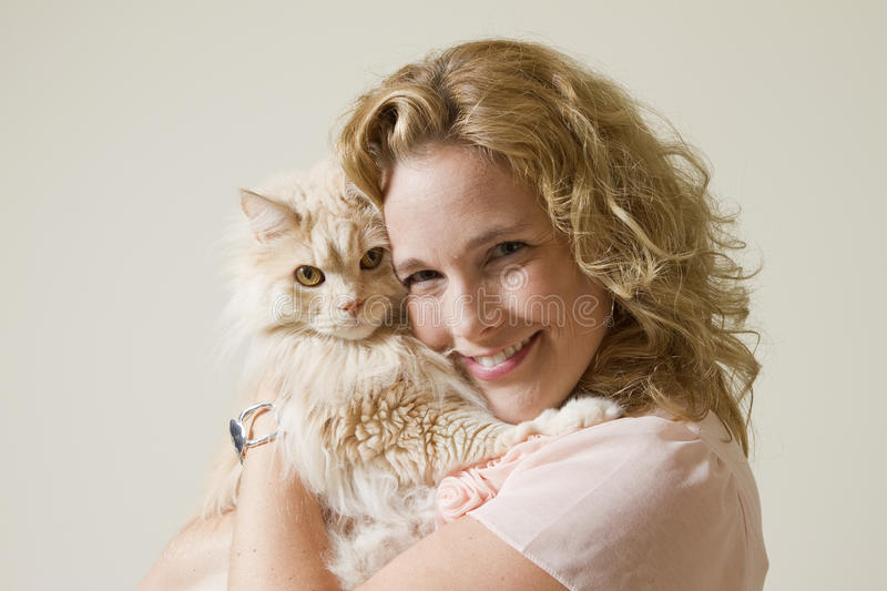 Download Cat Love stock image. Image of caucasian, girl, curly - 21576767