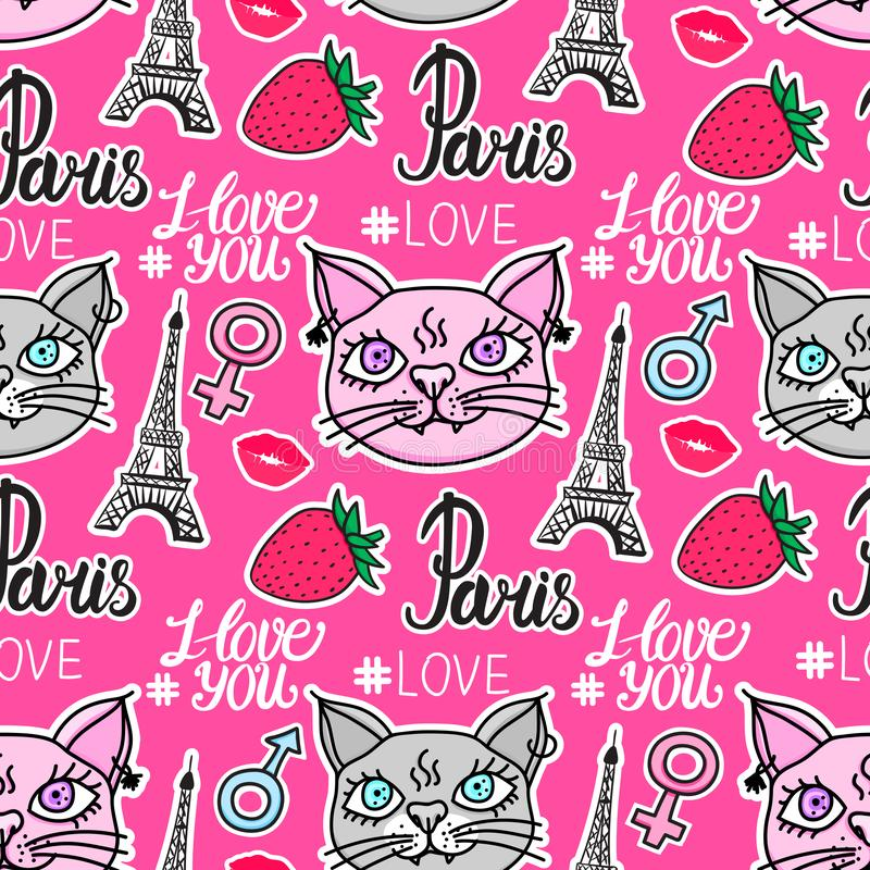 Cat love in Paris. Lettering hand drawn seamless pattern. Eiffel tower and strawberry stickers. Vector illustration vector illustration