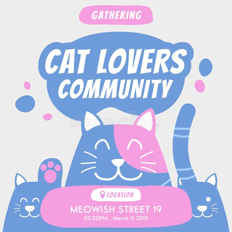 Cat lovers community gathering annual event invitation flyer banner promotion ads illustration with cute doodle cartoon of cats in. Soft blue color stock illustration