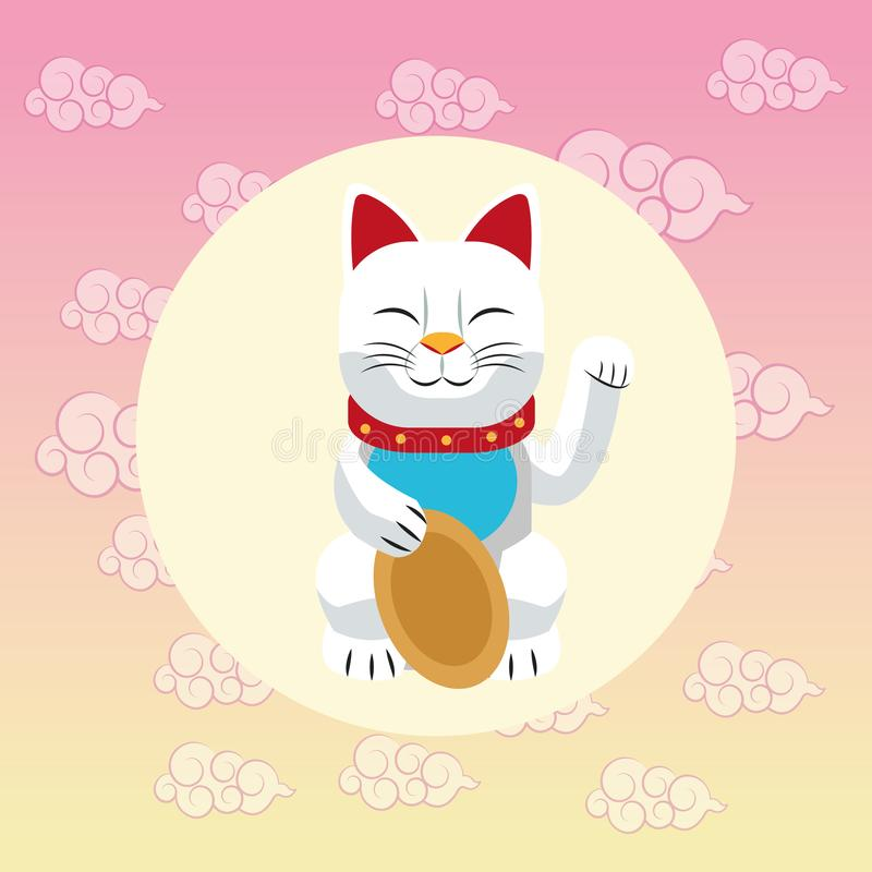 Lucky cat japan culture design vector illustration