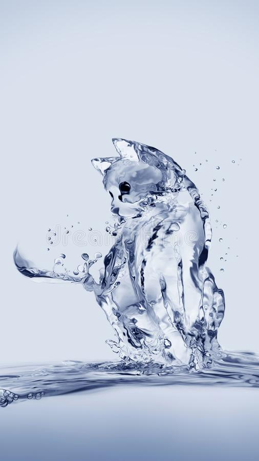 Cat. A cat made of water sitting on water