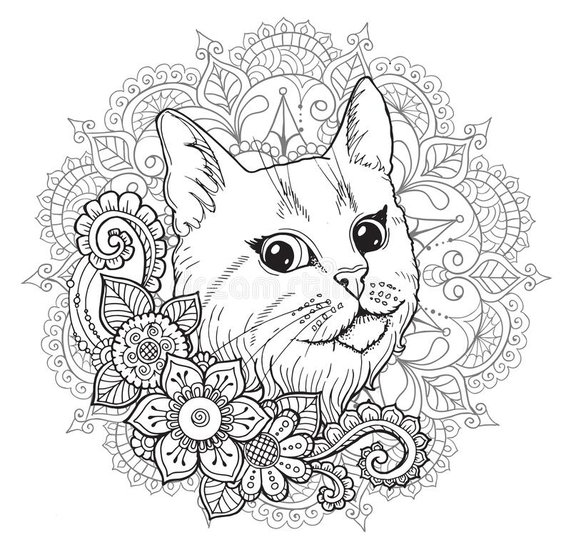The Cat And The Mandala. Coloring Book. Stock Illustration - Illustration  Of Funny, Colorful: 175165703