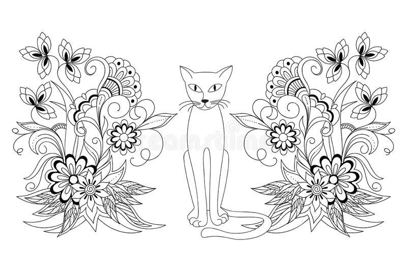 Cat and mehndi flowers for adult coloring royalty free stock photography