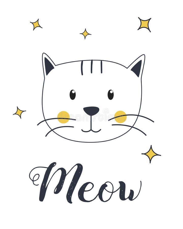 Cat Meow Illustration mignonne illustration libre de droits