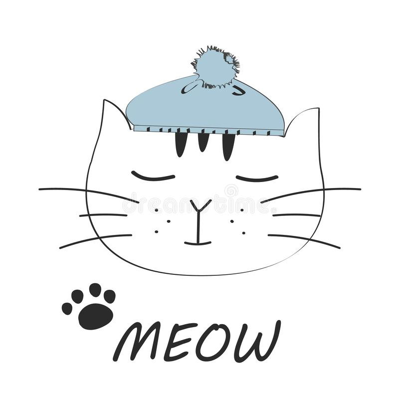 Cat meow vector illustration drawing with writing, black outlines of cat`s head, cat snout with ears, whiskers and paws royalty free illustration