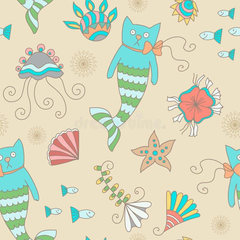 Cat mermaid royalty free illustration
