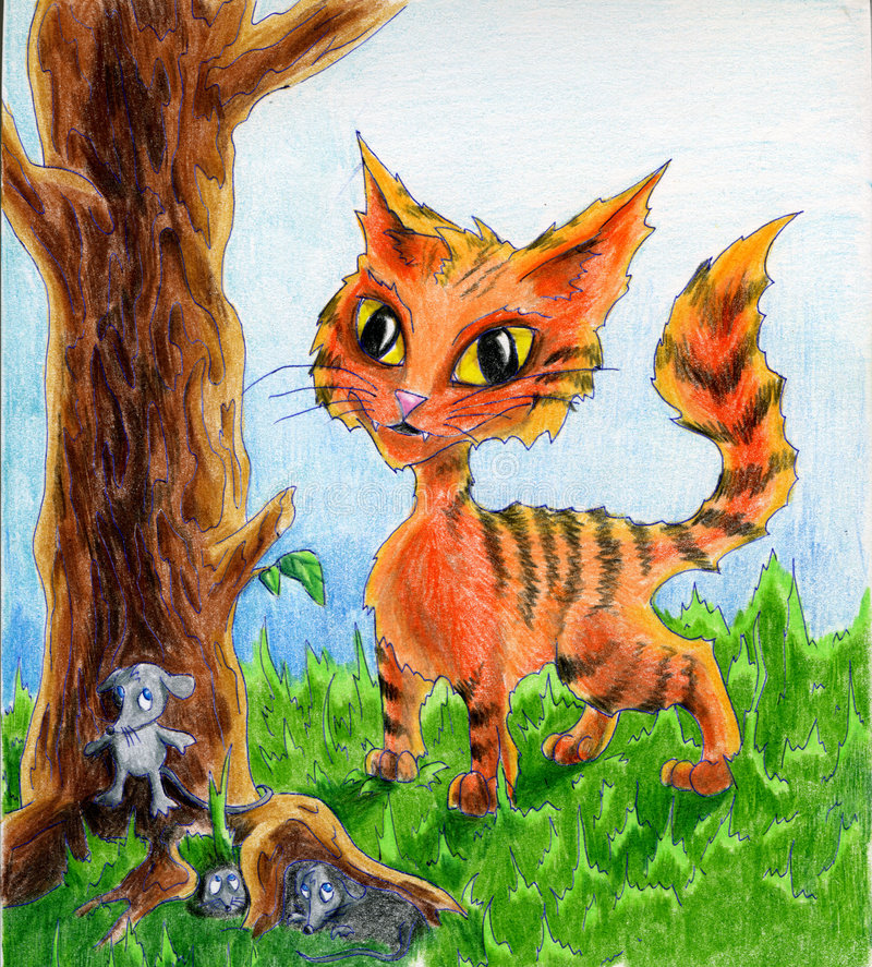 Cat and mice. Red cat and three mice hiding from him in tree roots. Colored pencil drawing vector illustration