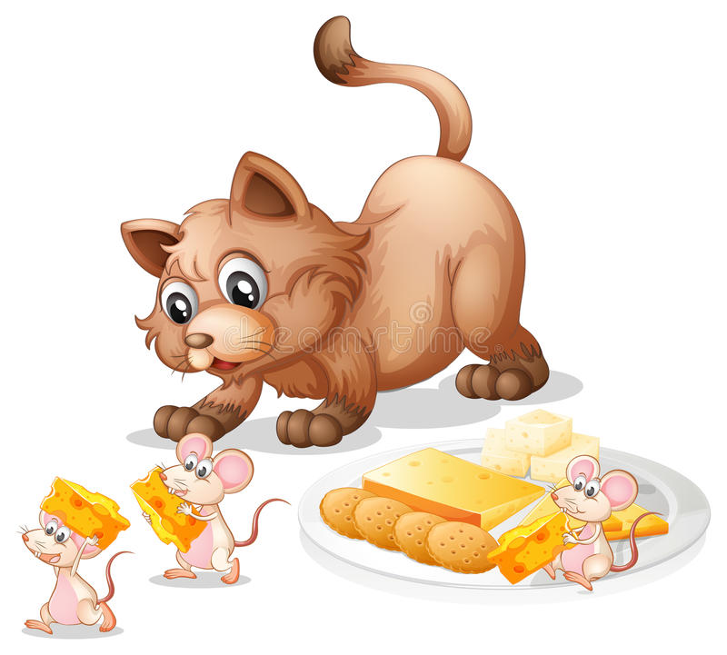 Cat and mice. Illustration of a cat and mice stock illustration