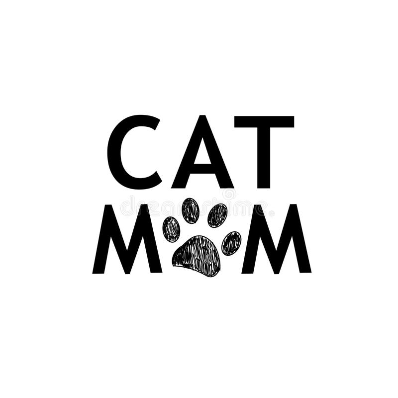 ``Cat Mom`` text with black paw print. Background vector illustration