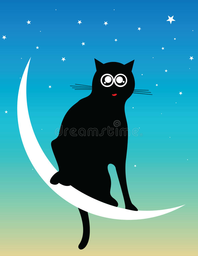 Download Cat At The Moon Stock Photography - Image: 12458952