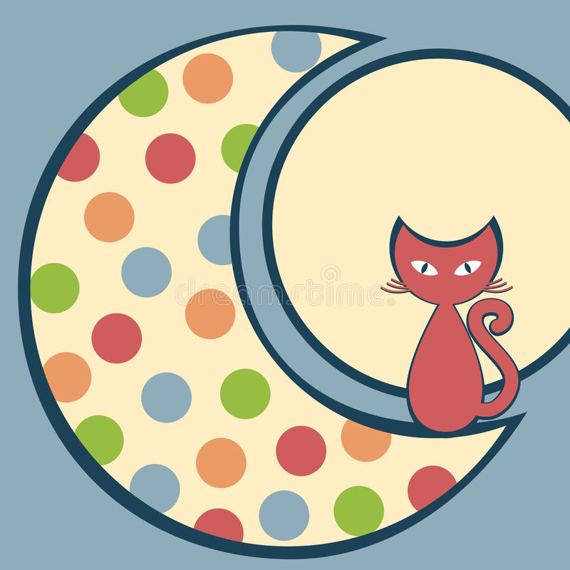 Cat in the Moon Greeting Card. Square invitation or greeting card with a cat in the moon. Space on the moon to write message royalty free illustration
