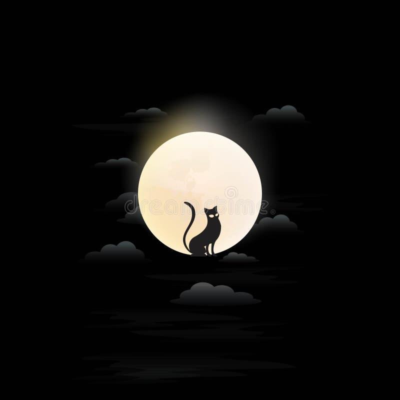 Cat at moon logo stock illustration