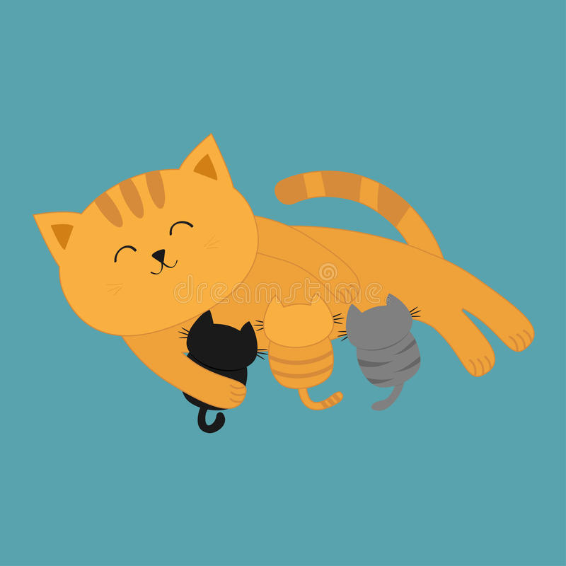 Cat mother feeding kittens. Mom kitty laying on the floor and nursing little cats. Milk feed. Breastfeeding pet animal. Cute cartoon character Flat design Blue vector illustration