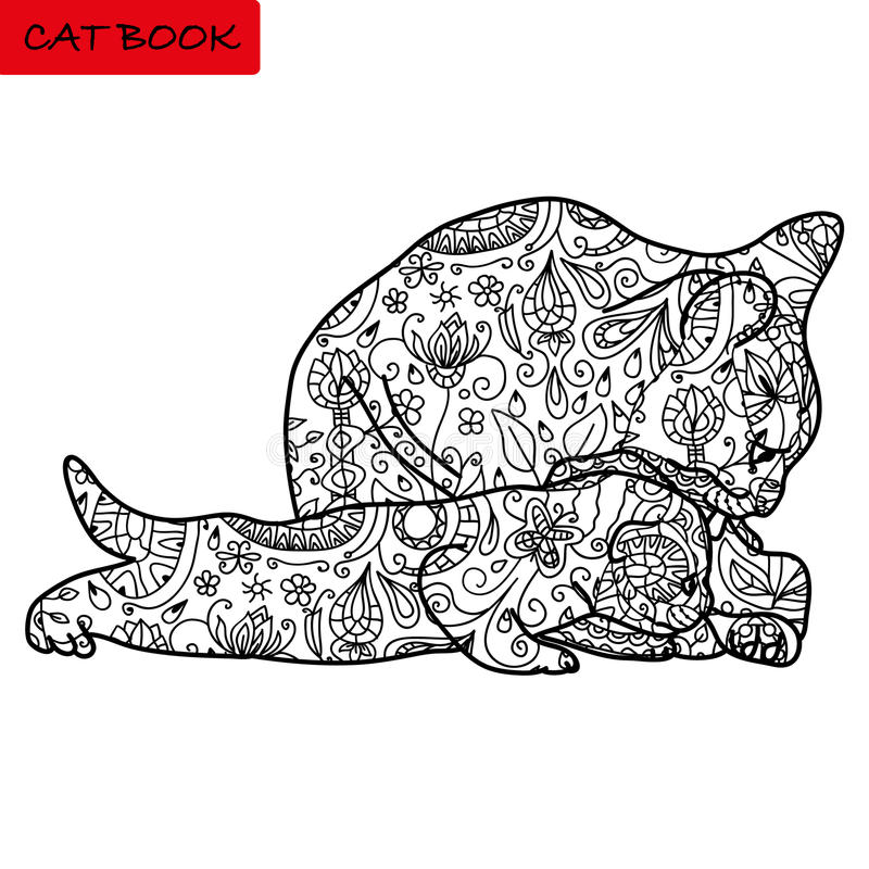 Cat mother and her funny kitten - coloring book for adults - cat book, hand drawn vector illustration with patterns. Cat mother and her funny kitten - coloring royalty free illustration