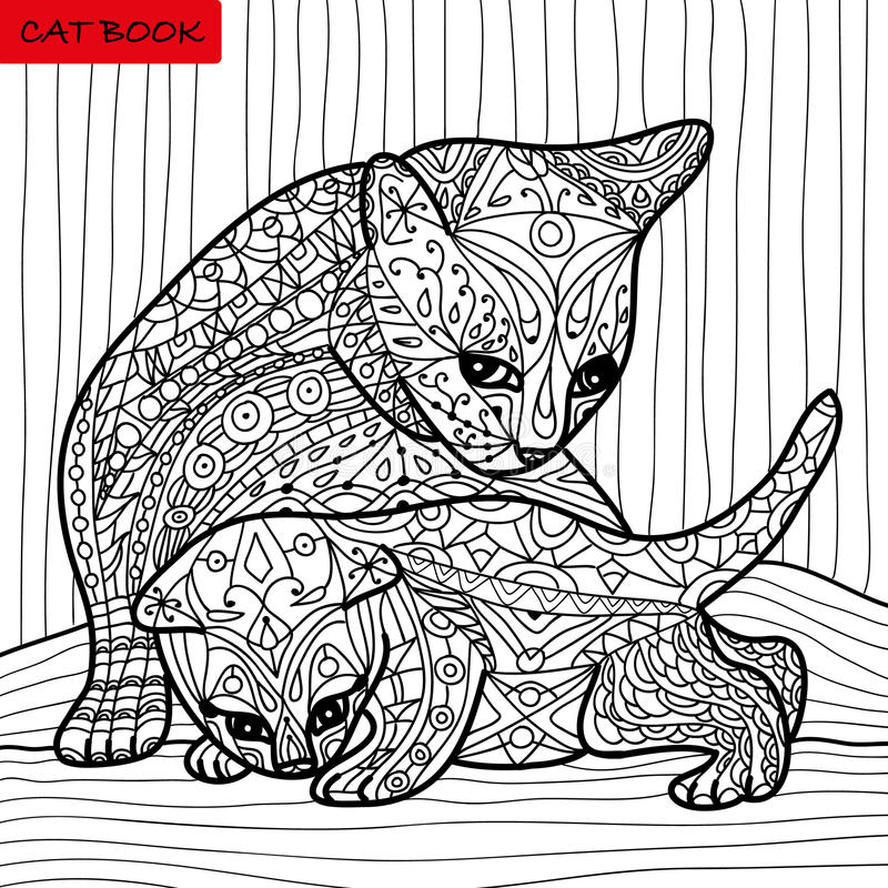Cat mother and her kitten - coloring book for adults - zentangle cat book, hand drawn vector illustration stock illustration