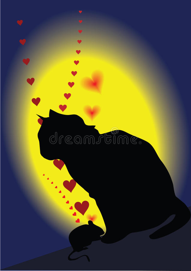 Download Cat & mouse stock vector. Image of life, attraction, love - 12658485