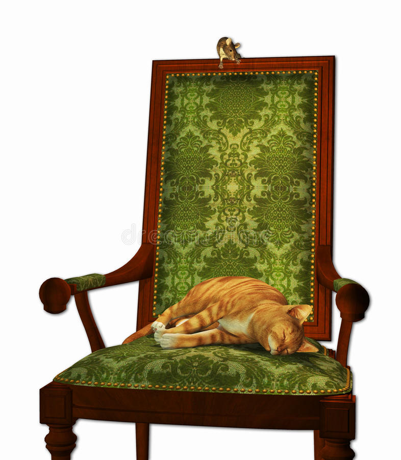 Download Cat and Mouse stock illustration. Image of animals, sleep - 20139252