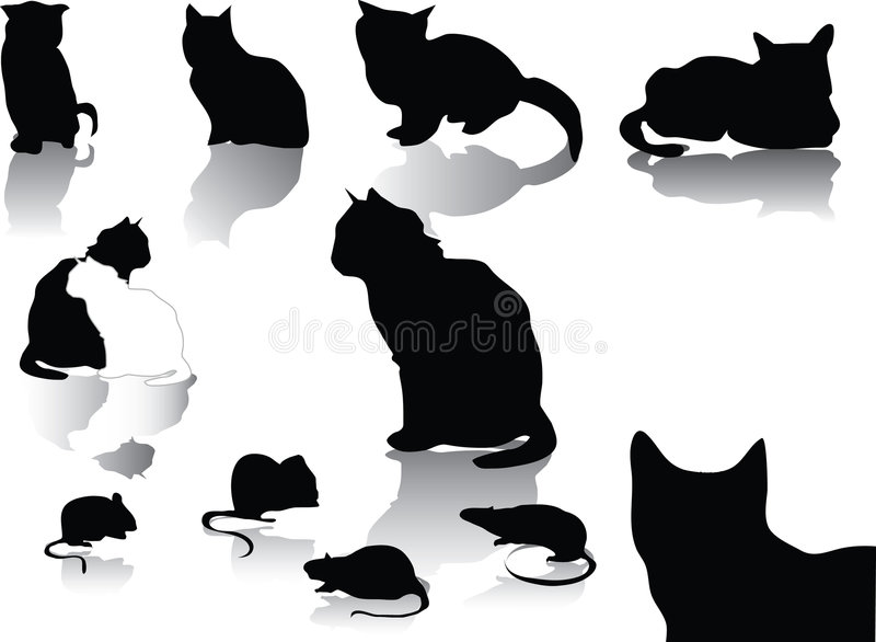 Cat and mouse. Cats and mouse black silhouette