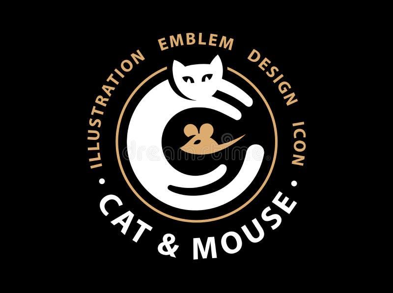 Cat and mouse catch illustration. Emblem logo design stock illustration