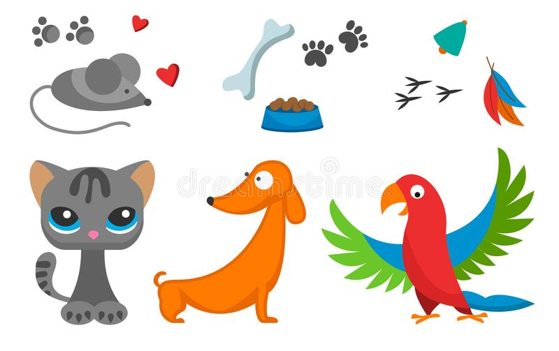 Cat and mouse cute kitty pet dog parrot cartoon cute animal cattish character catlike illustration stock illustration