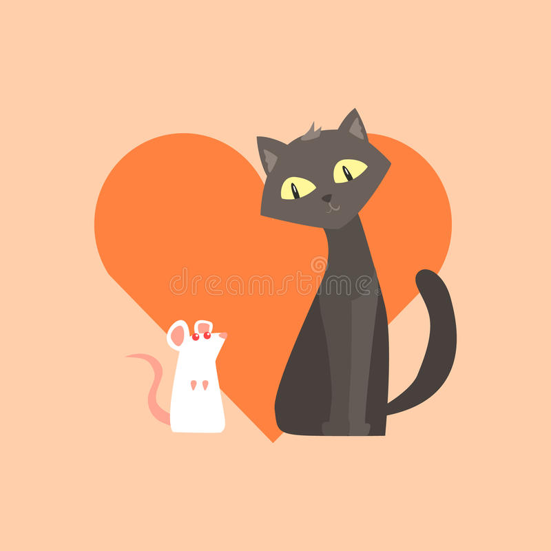 Cat And Mouse Friendship Image ilustración del vector