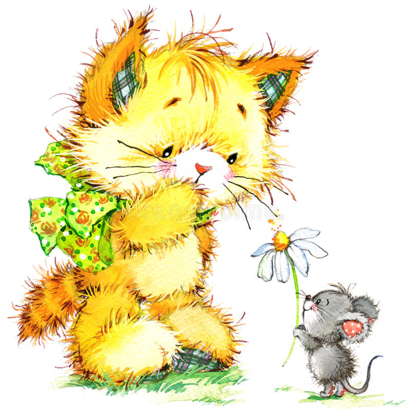 Cat and mouse. kid background for celebrate festival and birthday party. watercolor royalty free illustration