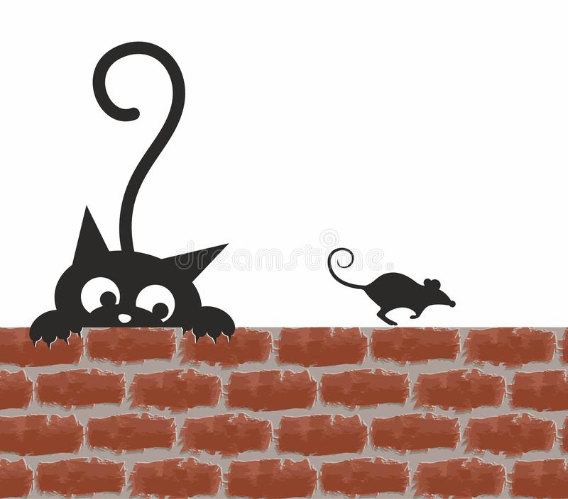 Cat and mouse. royalty free illustration
