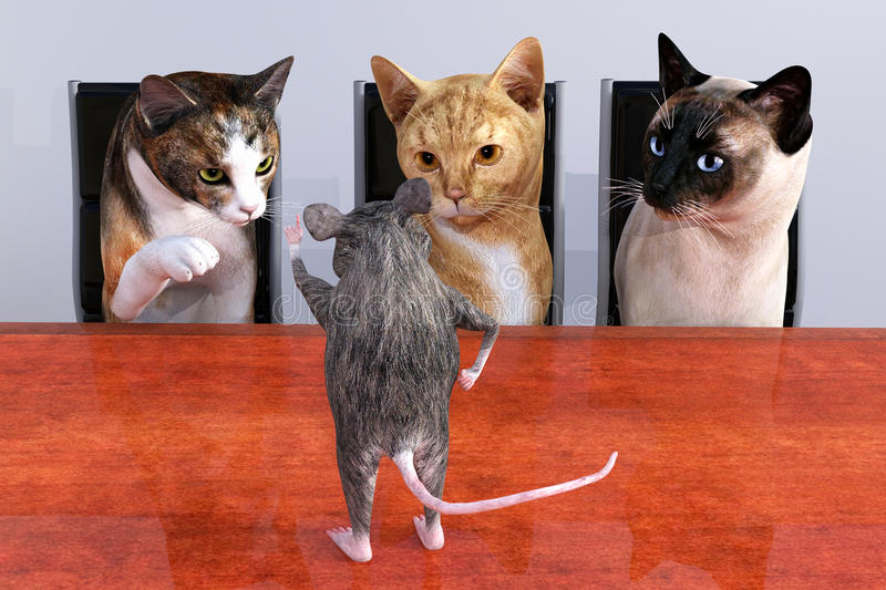 Cat Mouse Sales Marketing Meeting. Funny cat and mouse business meeting illustration. The presentation could be about sales or marketing. Is the mouse trying to royalty free stock images