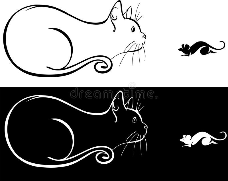 Line Drawing Mouse : A cat and mouse stock image. image of tail sitting 39601143